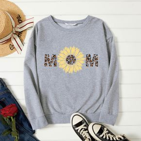 Graphic Light gray Long-sleeve Pullover For Women