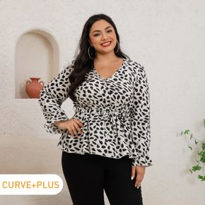 Women Plus Size Sexy Allover Print Surplice Neck Belted Long-sleeve Blouse