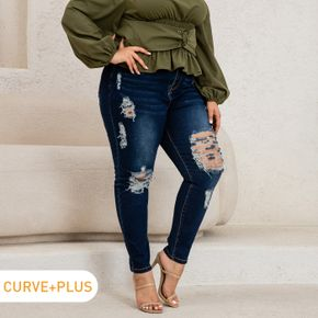 Women Plus Size Casual High Waist Skinny Ripped Jeans Denim Pants with Pocket