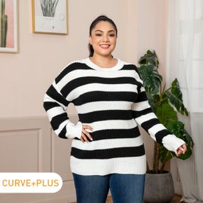 Women Plus Size Casual Round Neck Striped Ribbed Knit Sweater