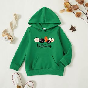 Halloween Toddler Pumpkin and Letter Print  Long-sleeve Hooded Pullover
