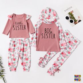 2pcs Pink Floral Print and Letter Splicing Long-sleeve Set for Sister and Me