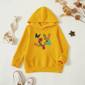 Toddler Girl Graphic Butterfly and Floral Print Long-sleeve Hooded Pullover