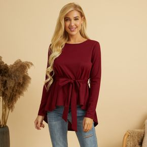 Solid Round Collar Long-sleeve Pullover