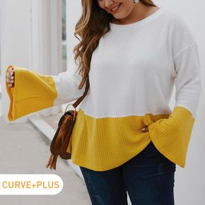 Women Plus Size Casual Waffle Colorblock Bell sleeves Knit Sweater