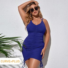 Women Plus Size Elegant Solid Backless Tie Side Short Ruched Bodycon Cami Dress
