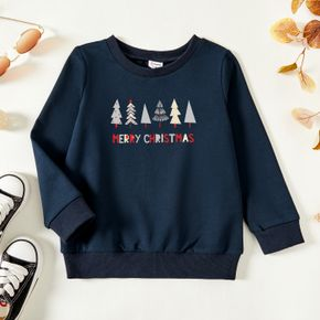 Christmas Toddler Tree and Letter Print Long-sleeve Pullover