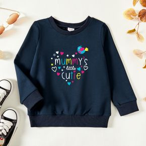 Toddler Graphic Heart-shaped and Letter and Bird Print Long-sleeve Pullover