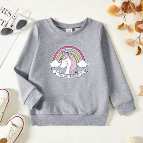 Toddler Graphic Unicorn and Rainbow and Letter Print Long-sleeve Pullover