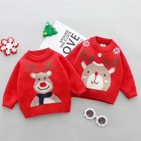 Christmas Deer Long-sleeve Baby Knitted Sweater Pullover