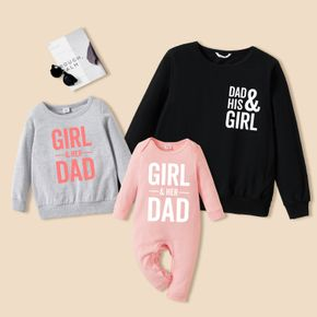 100% Cotton Solid Letter Print Long-sleeve Crewneck Sweatshirt Pullover for Dad and Me