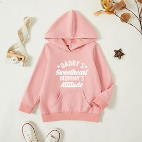 Toddler Graphic Letter and Heart Print Long-sleeve Hooded Pullover