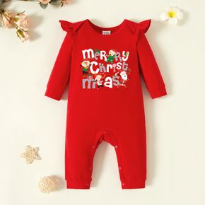 Baby Graphic Flutter-sleeve Red Long-sleeve Jumpsuit