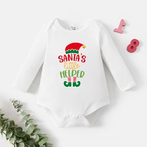 Baby Graphic Christmas White Long-sleeve Romper