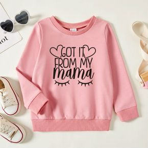 Toddler Girl Graphic Heart-shaped and Letter Print Long-sleeve Pullover