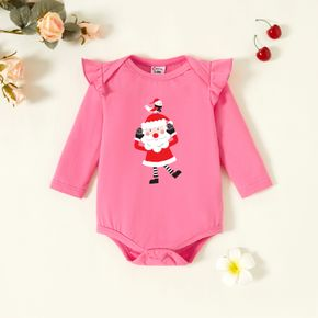 Baby Graphic Christmas Flutter-sleeve Deep pink Long-sleeve Romper