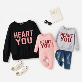 100% Cotton Letter Print Solid Long-sleeve Sweatshirts for Mom and Me
