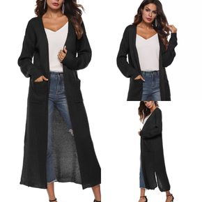Women's Casual Open Front Knit Cardigans Long Sleeve Plush Long Thin Coat with Pockets