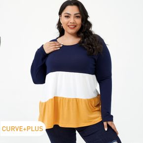 Women Plus Size Casual Colorblock Long-sleeve Tiered Tee