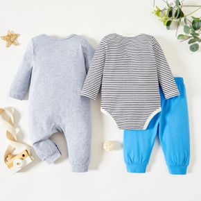 Christmas 3-Pack Baby Graphics Elk and Stars and Letter Print Striped Long-sleeve Romper Jumpsuit Pants Set