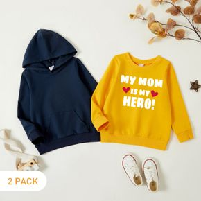 2-Pack Toddler Graphic Letter and Heart-shaped Print Long-sleeve Pullover & Hooded Pullover Set
