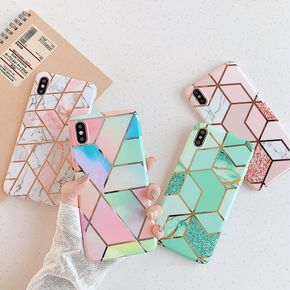 iPhone Square Case, Plating Geometry Marble Chic Slim Soft Silicone Protective Case for iPhone 7/7 Plus/11/11 Pro/11 Pro Max/12/12 Pro/12 Pro Max/12 Mini/X/XS Max/XR