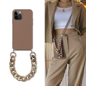 iPhone Case with Chain, Soft TPU Bumper Protective-Necklace Style iPhone Case with Strap for iPhone 7/7 Plus/11/11 Pro/11 Pro Max/12/12 Pro/12 Pro Max/12 Mini/X/XS Max/XR