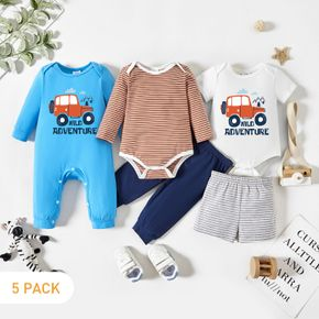 5-Pack Baby Graphic Truck and Forest and Letter Print Striped Romper Jumpsuit Pants Set