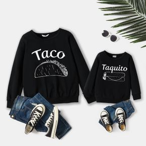 100% Cotton Letter and Food Print Black Long-sleeve Sweatshirts for Dad and Me
