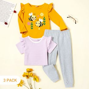 3-Pack Toddler Girl Graphic Bee and Floral Print Long-sleeve Tee & Striped Short-sleeve Tee & Pants Set