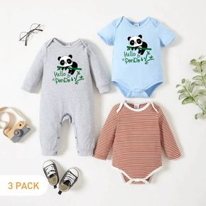 3-Pack Baby Graphic Panda and Heart-shaped and Letter Print Striped Romper Jumpsuit Set