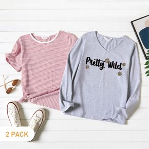 2-Pack Graphic & Striped Tee Set For women