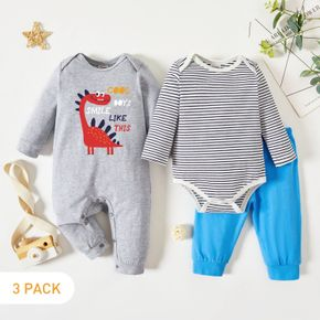 3-Pack Baby Graphic Dinosaur and Letter Print Striped Long-sleeve Romper Jumpsuit Pants Set