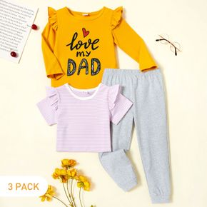 3-Pack Toddler Girl Graphic Heart-shaped and Letter Print Ruffled Long-sleeve Tee & Striped Short-sleeve Tee & Pants Set