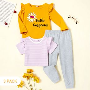 3-Pack Toddler Girl Graphic Daisy and Letter Print Ruffled Long-sleeve Tee & Striped Short-sleeve Tee & Pants Set