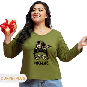 Women Plus Size Graphic Portrait and Letter and Leopard Print V Neck Long-sleeve Tee