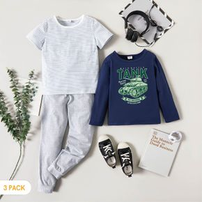 3-Pack Kids Graphic & Striped Tee Pants Set