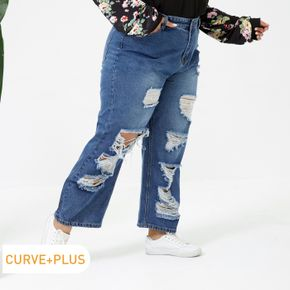 Women Plus Size Casual Distressed Ripped Denim Jeans