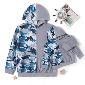 Camouflage Splicing Grey Long-sleeve Hooded Sweatshirts for Dad and Me