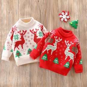 Christmas Reindeer Long-sleeve Knitted Baby Sweater Pullover
