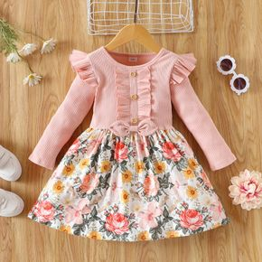 Toddler Girl Floral Print Stitching Ribbed Ruffled Button Design Long-sleeve Dress