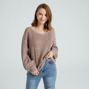 Solid Color V-neck Long-sleeve Open Knit Lantern Sleeve Sweater