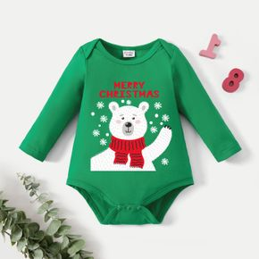Christmas Graphic Baby Bear and Snowflake and Letter Print Long-sleeve Romper