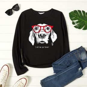 Graphic Black Long-sleeve Round-collar Tee for Women