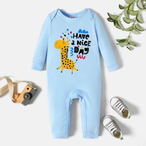 Baby Graphic Light blue Long-sleeve Jumpsuit