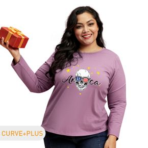Plus Graphic Round Neck Long-sleeve Tee For women