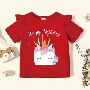 Toddler Graphic Flutter-sleeve Red Short-sleeve Tee