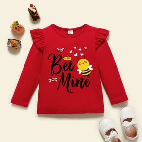 Toddler Graphic Flutter-sleeve Red Long-sleeve Tee
