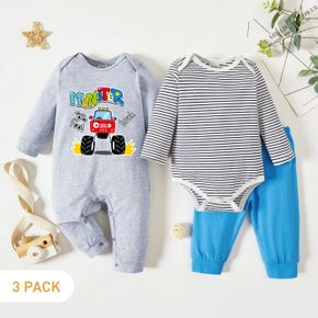 3-Pack Baby Graphic Truck and Letter Print Striped Long-sleeve Romper Jumpsuit Pants Set