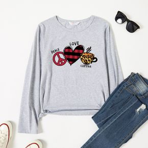 Graphic Light gray Long-sleeve Round-collar Tee for Women